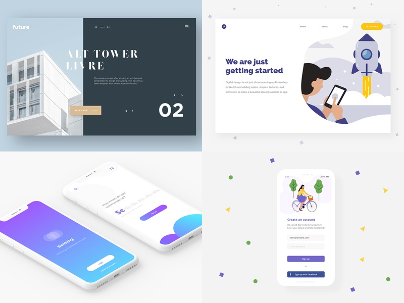 2018 mobile app banking app bank app illustration get started app dashboard ux design social gradient website mobile app design landing page app screen app concept flat app web ux ui design