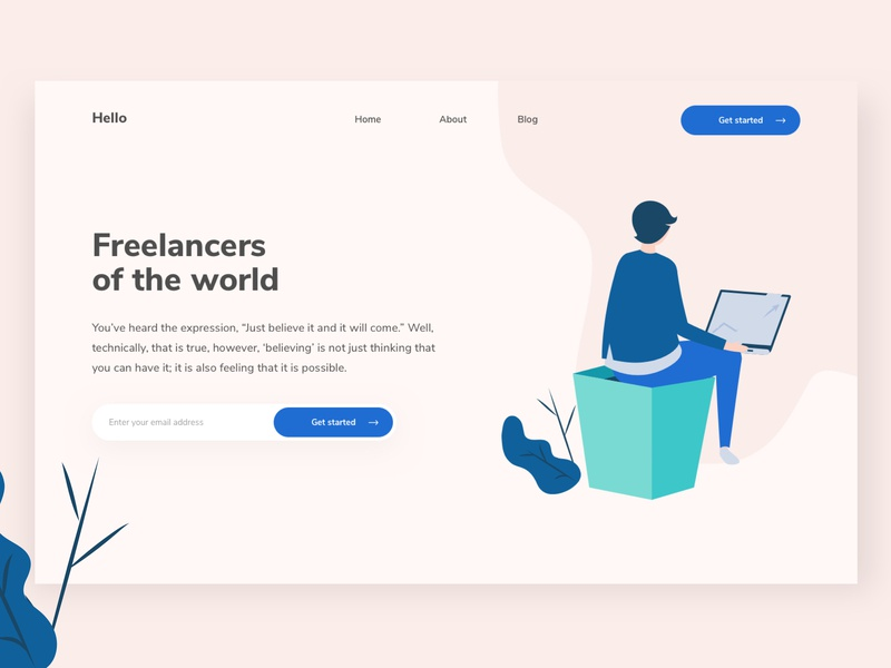 Freelancers Of The World get started sketch freelance homepage ui design ux design vector website landing page illustration ux web ui design