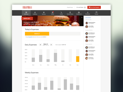 Company Lunch Expenses Dashboard white red grey expense dashboard graphs control panel control