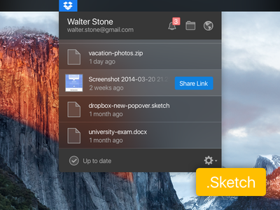 Dark Dropbox Popover (Sketch Freebie) redesign blur elcapitan desktop osx dark notification popover dropbox