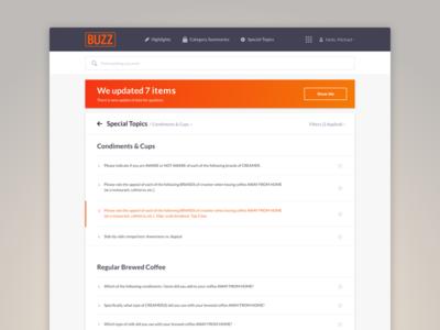 BUZZ Redesign web data coffee list listing dark orange analytics buzz
