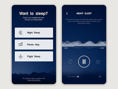 Shhh App night appstore audioplayer player waves blue dark relax sleep music sounds shhh