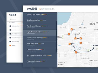 Walkli 🌴⛱🗿 app for travalers desktop web dark city walk travel app walkli