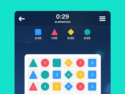 Game screen in Progress mobile ios triangle circe square blocks green blue area game
