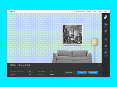 Digital Decor Constructor responsive web desktop sidebar builder constructor editor dark blue digital website decor