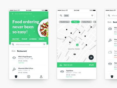 New Food App mobile app food app home listing map mobile ios green food