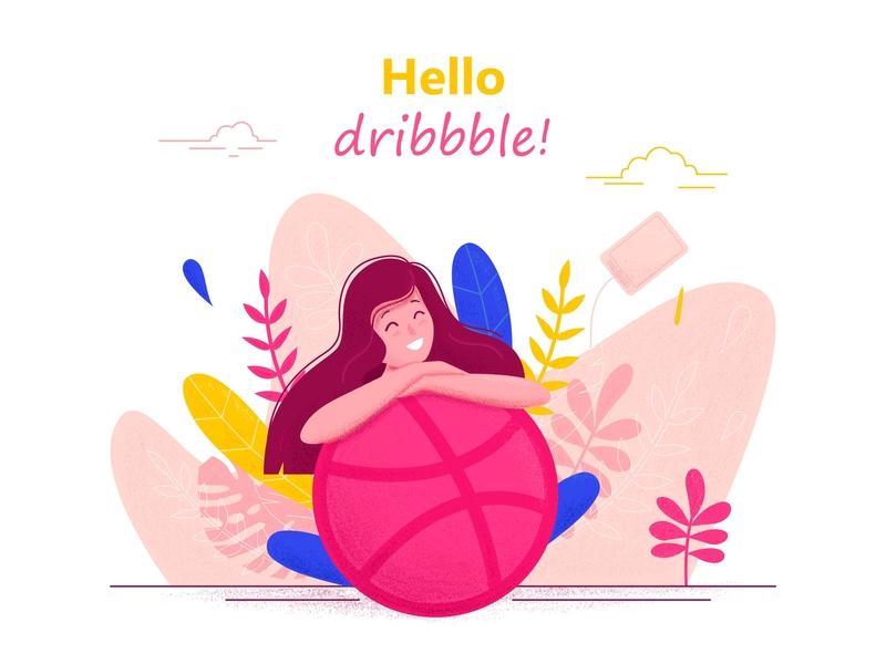 Hello Dribbble illustration vector girl cute hello dribbble character