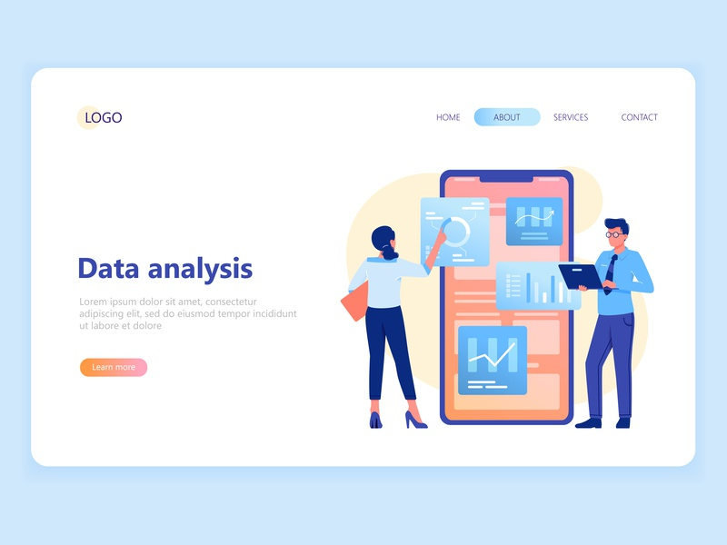 Web Page Template template woman man data analysis landing page web character vector illustration