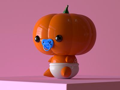 Pumpkin Kid character design character cinema4d maxon food vegetable baby orange halloween pumpkin kid redshift octane c4d 3d animation