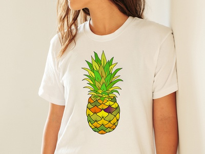 Pineapple Vector Watercolor T-SHIRT for amazon and teespring
