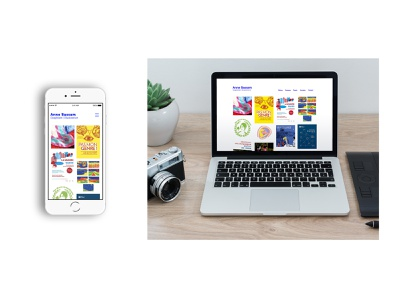 Anne Bassam Website wixsite wix website webdesign illustration ux minimal ui design