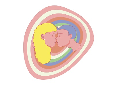 Kiss target illustrator pastel colors vector icon flat illustration print minimal design