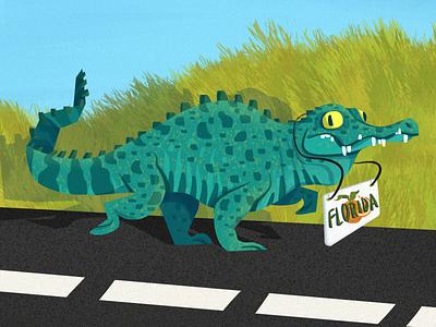 """Florida Man Registers Gator as a Car"" reptile road car crocodile alligator florida gator animal cartoon character characterdesign illustration"