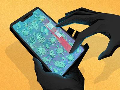 Phone Germs phones disinfect technology hands coronavirus virus germs phone design character illustration