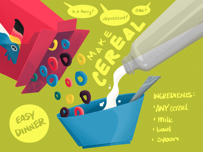 Cereal eat breakfast food bowl spoon bird toucan sugar froot loops cereal illustration
