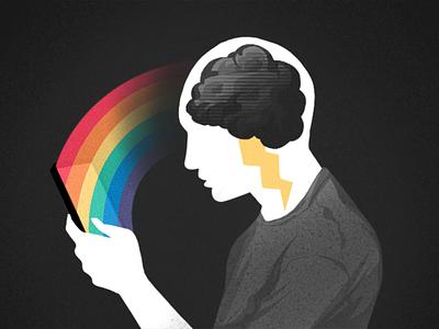 Mental Health App mental health awareness storm sad quarantine rainbow phone app mentalhealth anxiety cartoon illustration