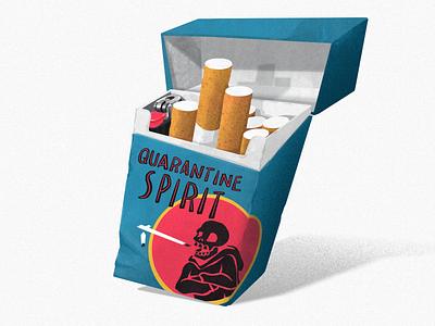 Quarantine Spirit skeleton skull smoke american spirit cigarettes cigarette illustration