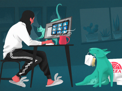 Work From Home computer videocall zoom coffee takeout bullterrier cat dog workfromhome work animal woman cartoon character characterdesign illustration