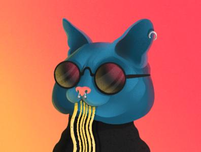 Ramen Cat glasses noodles food ramen light cat animal character characterdesign illustration