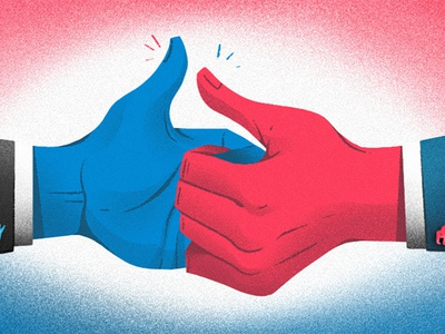Election Day editorial hands 2020 president election illustration