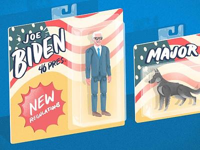 Joe and Major Biden inaguration vote democrat president packaging toy dog german shepherd biden illustration