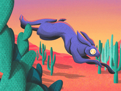 Desert Hare sunset cactus new mexico arizona southwest desert bunny rabbit jackrabbit hare animal cartoon character characterdesign illustration