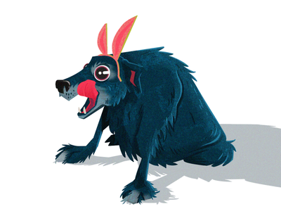 Boone on Easter wolf pup fluffy ears bunny ears easter dog animal cartoon character characterdesign illustration