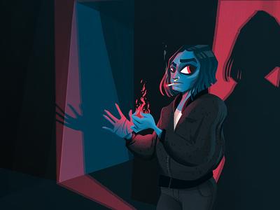 Lighter night magic demon light shadow fire smoke cigarette lighter women woman character characterdesign illustration