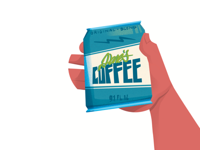 Dane's Coffee drink hand cold brew soda can coffee character characterdesign illustration