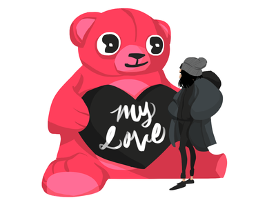 My Love girl couple love toy stuffed animal animal teddy bear heart valentine valentines day bear women cartoon woman character characterdesign illustration