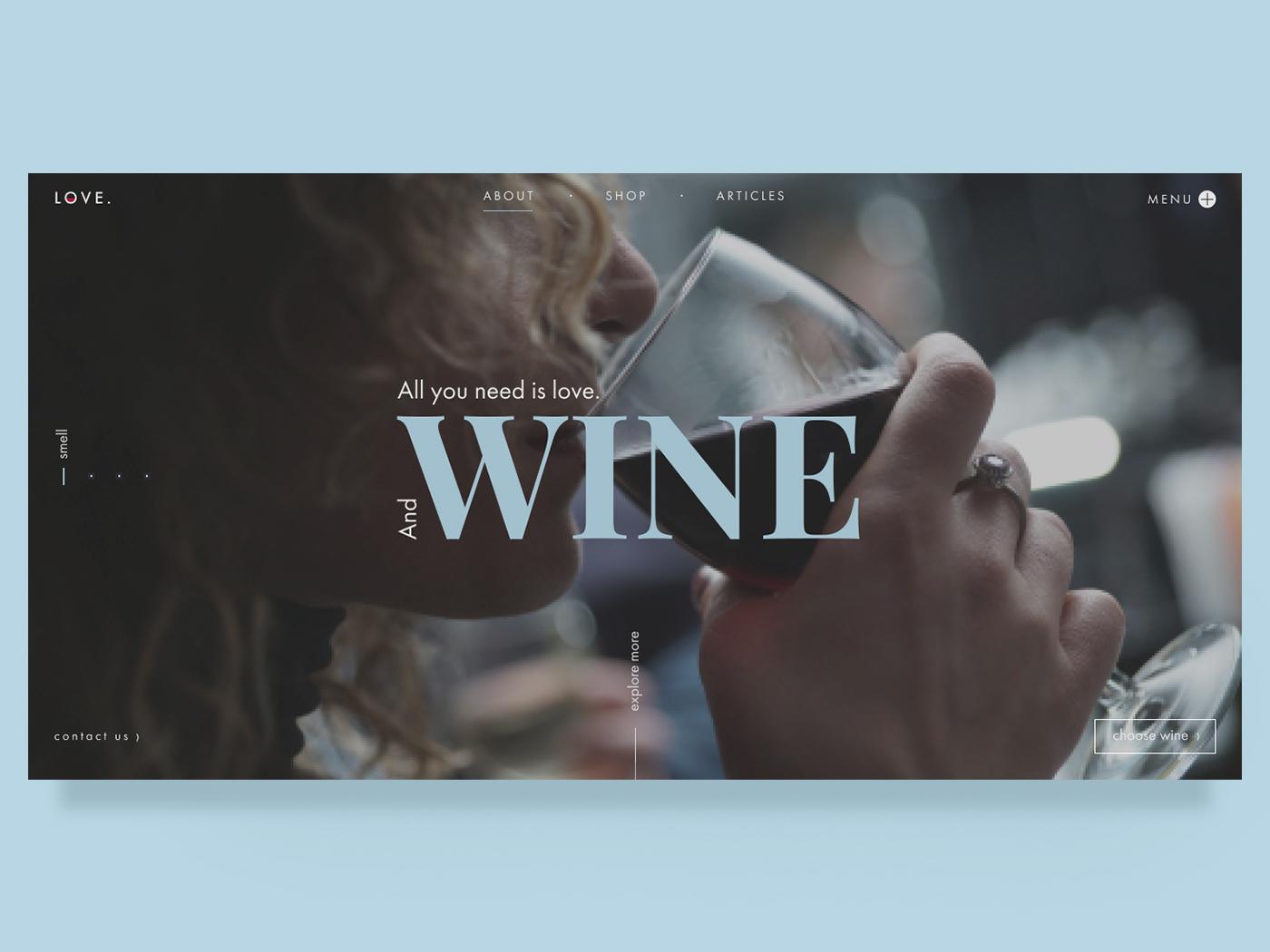 Wine store Main page wine bar wine online store design web ui