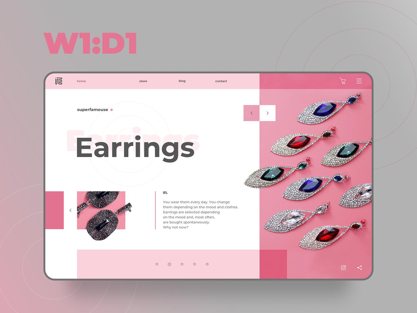 Self UI Challenge — 1. Earrings first screen typography earrings pink ui challange flat design web ui