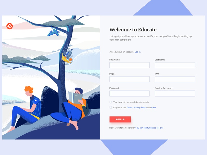 Educate banner reading uidesign illustation education form design form