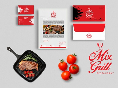 Mix Grill Restaurant Logo and Branding.