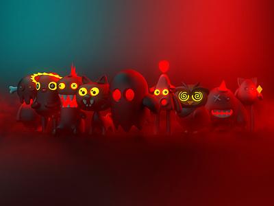 Monster Squad 4d cinema halloween monsters cinema4d 3d