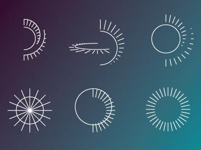 Tilt Pan Rotate Zoom Exploration lines icons illustration