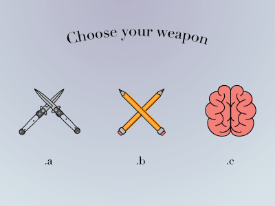 Choose Your Weapon weapons icons illustration