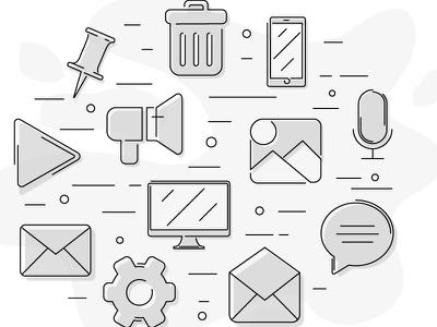 A Selection of Icons lineicons media icons