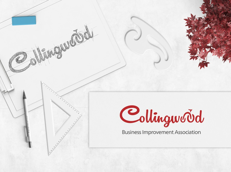 Collingwood BIA Logo design branding graphicdesign design handwriting script lettering handlettering bicycle red logo