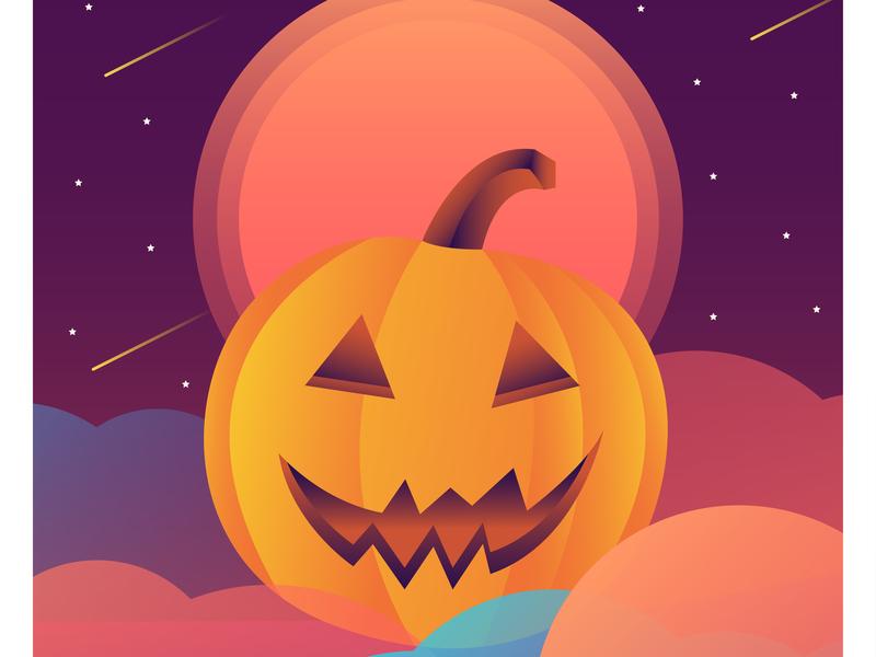 Jack'O Latern night character cartoon autumn pumpkin halloween vector illustration