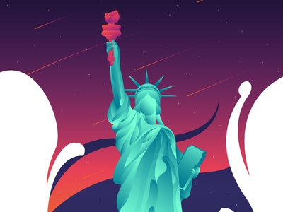 Liberty Statue sculpture america world landmarks gradient statue of liberty world new york landmark liberty illustration