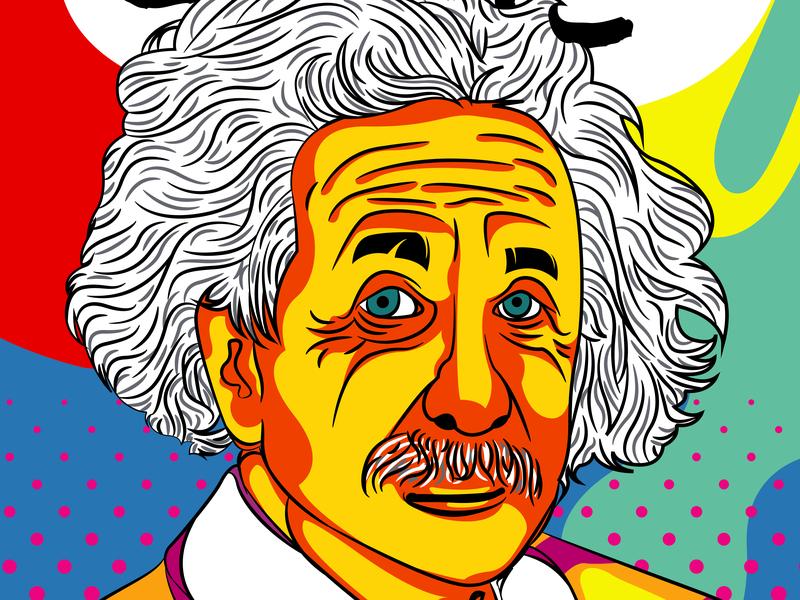 Albert Einstein person energy physicist professor physics science teacher education scientist cartoon vector albert einstein geek relativity genius albert einstein pop art illustration