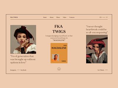 FKA TWIGS. MAGDALENE branding clean minimal art typography ui