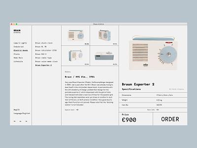 Braun Archive. Product Page type fashion brand ecommerce art typography minimal clean design web ui braun