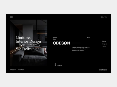 OBESØN. INTERIOR BÜRO architecture clean art ecommerce animation animated after effect aftereffects ui typography minimal