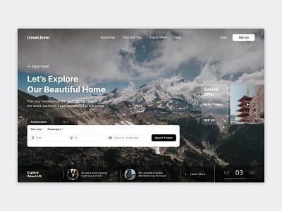 Homepage Travel Agency brand ecommerce clean web ui typography minimal