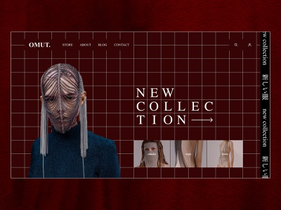 OMUT Jewelry — Homepage red design identity website type typography art interface web clean ecommerce design ecommerce fashion brand brand ux ui brutalism minimal fashion branding