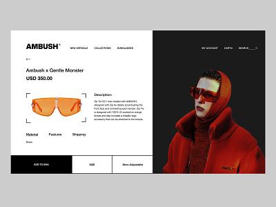 Product Page - Ambush animation type identity interface fashion brand fashion art ecommerce design ecommerce brutalism website typography clean ux brand web ui design minimal branding