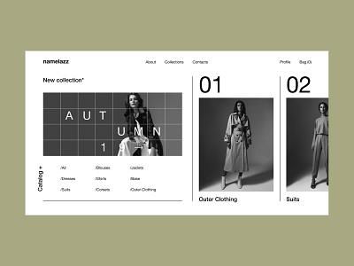Namelazz - Homepage fashion brand ecommerce type identity art ui web typography minimal design branding