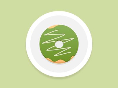 Matcha Donut For Breakfast 🍩 illustration dessert breakfast donut matcha icon green tea